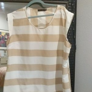 The Limited Tops - Tan and white sleeveless top from The Limited